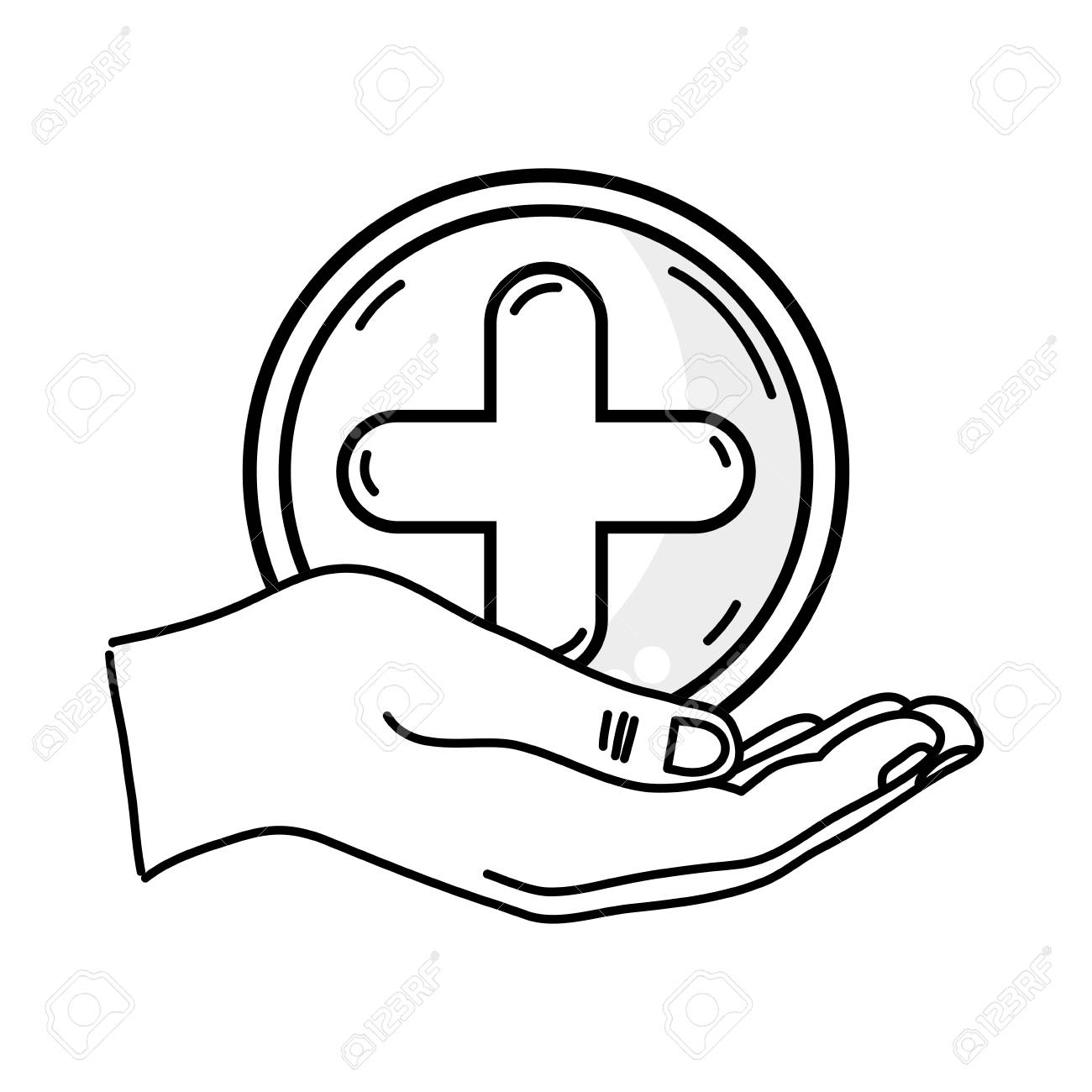 Outline drawing of hand holding a cross medicine symbol to help outline drawing of hand holding a cross medicine symbol to help the people stock vector buycottarizona Gallery