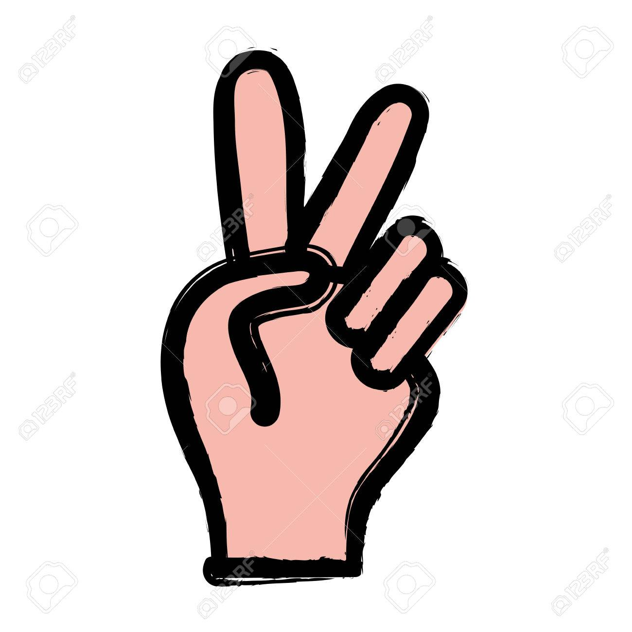 Nice Hand With Peace And Love Symbol Vector Illustration Royalty
