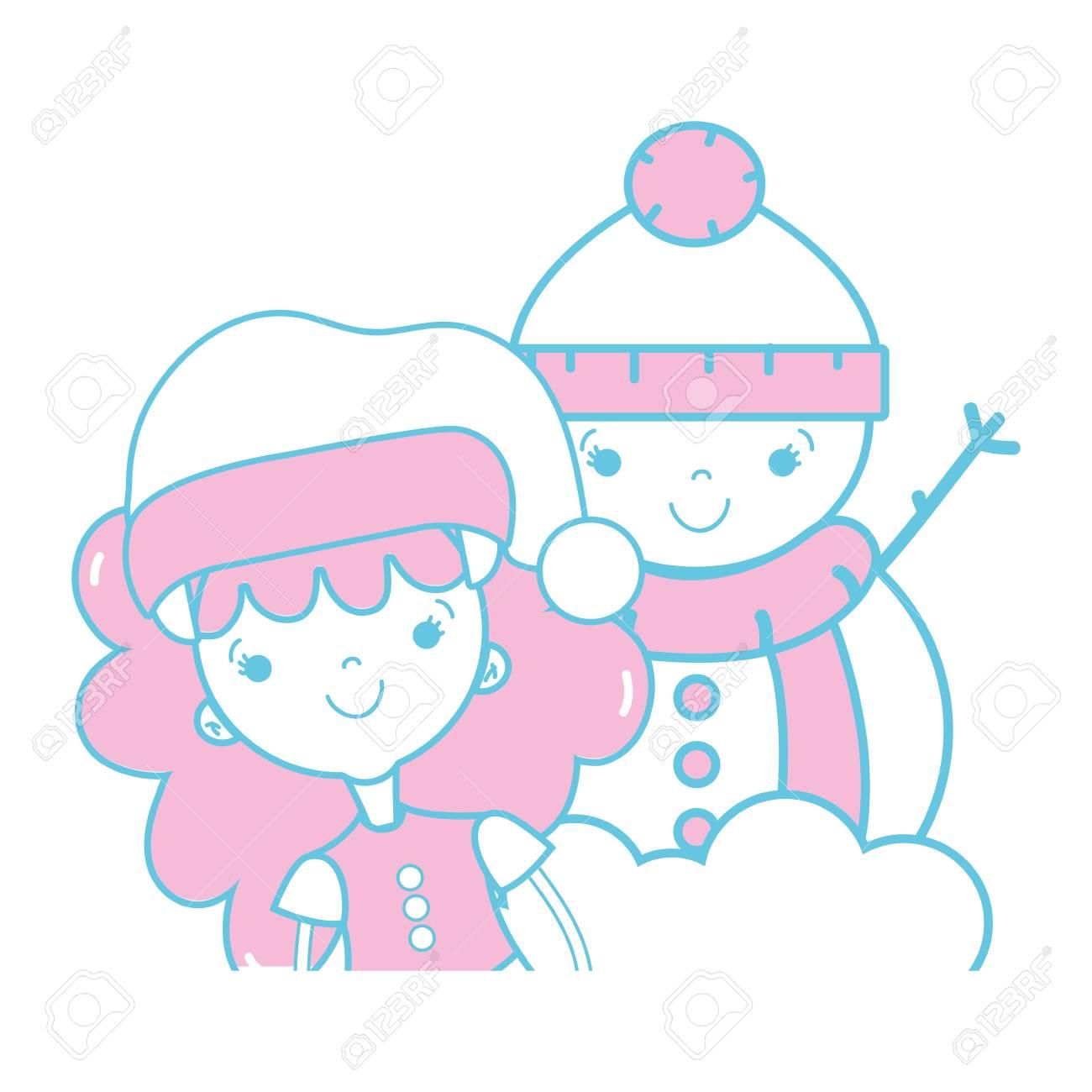 Fille à Vêtements De Noel Et Dessin De Bonhomme De Neige
