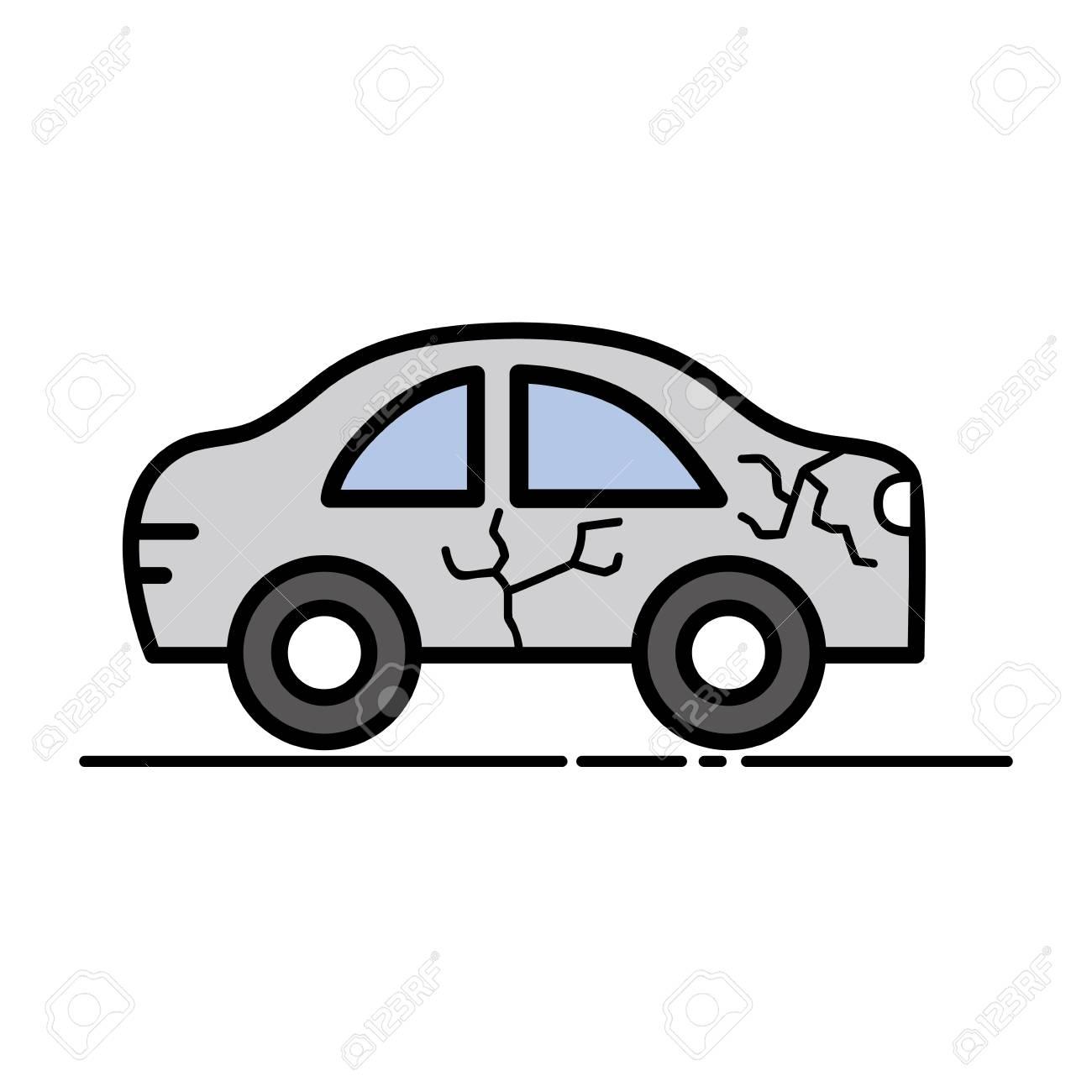 Autounfall In Der Straße Für Unfall Katastrophe Vektor-Illustration ...