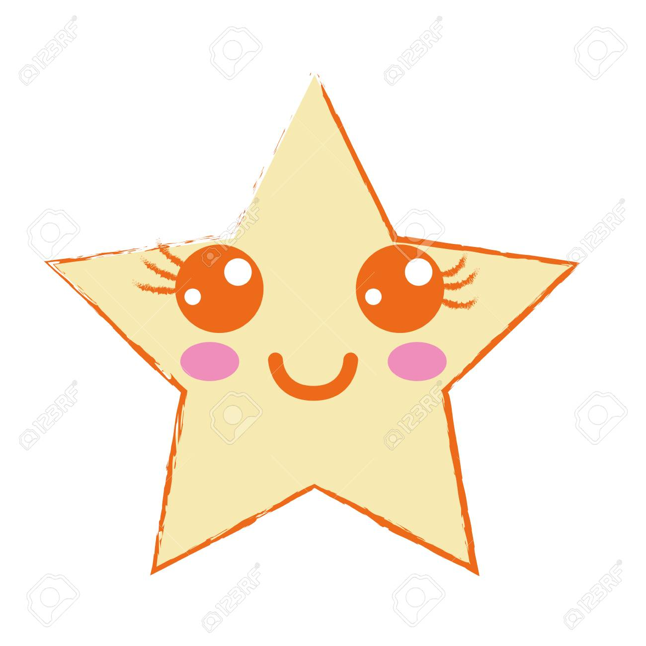 かわいい幸せ星キラキラ ベクトル イラストのイラスト素材ベクタ