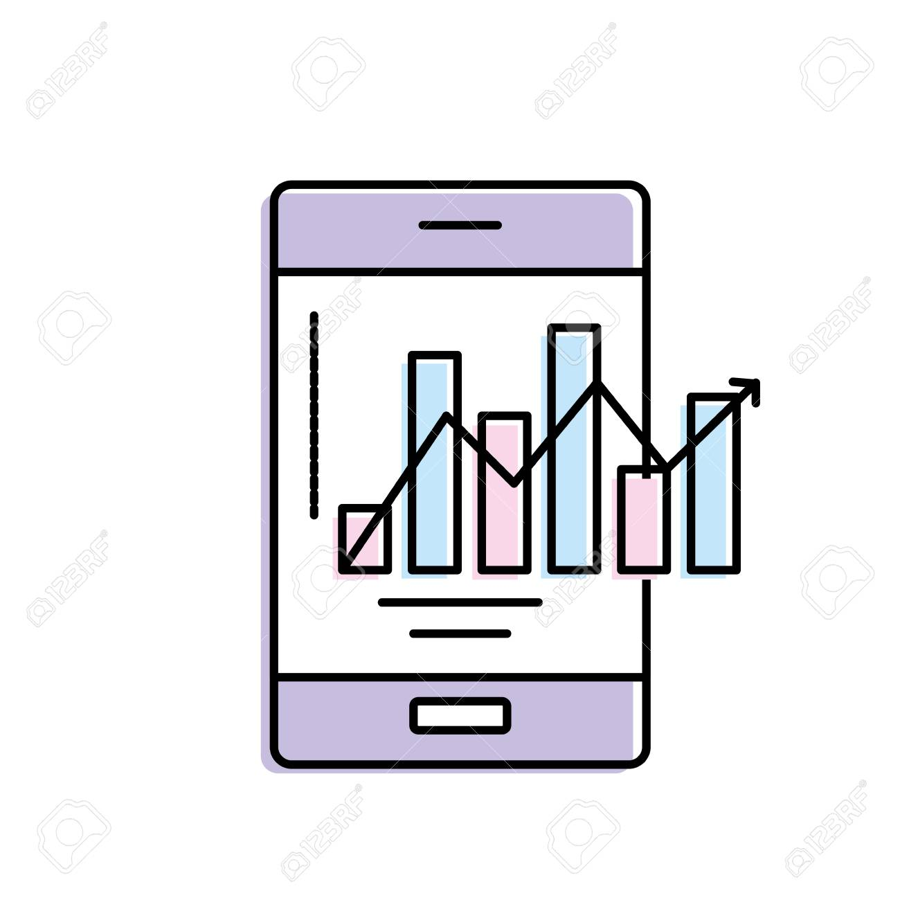 Smartphone Technology With Statistics Bar Diagram Royalty Free