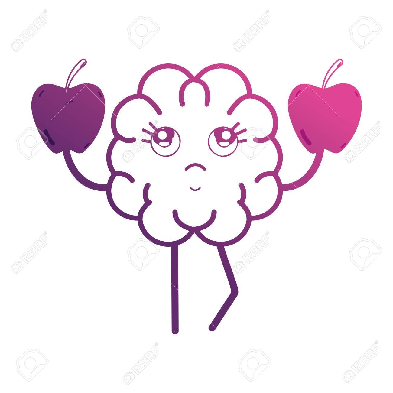 Línea Lindo Cerebro Con Fruta De Manzanas Ilustraciones Vectoriales ...