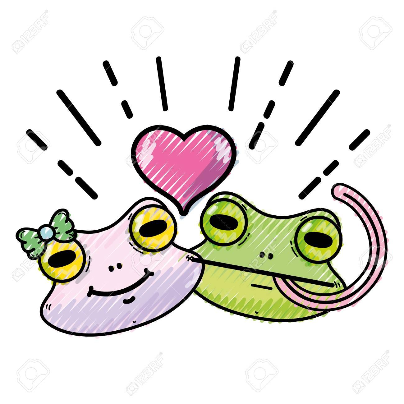 ハート デザイン ベクトル イラストかわいいカエル夫婦動物をおろしの