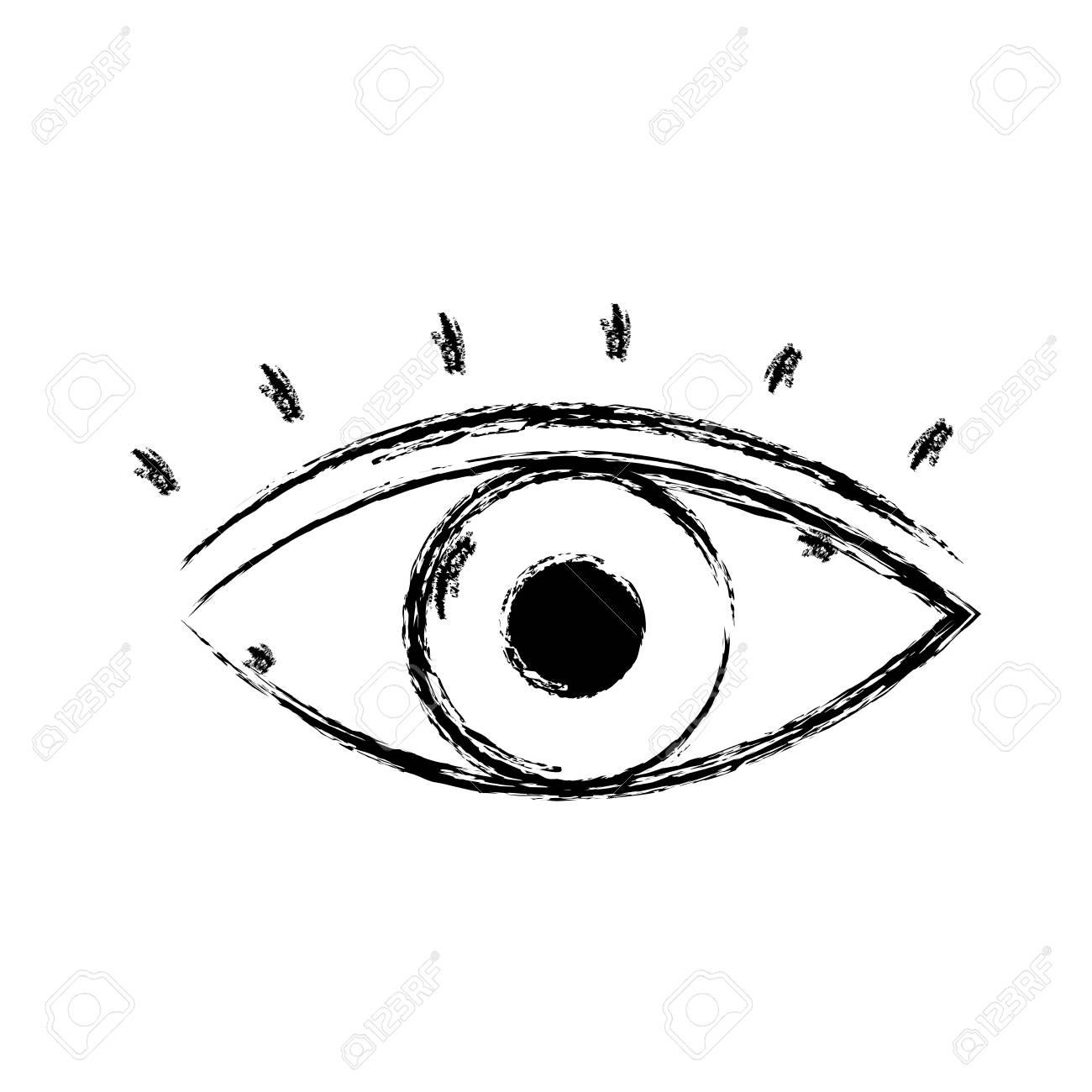 Figura Vista De Ojo Humano Con Pestañas Diseño Ilustración Vectorial ...