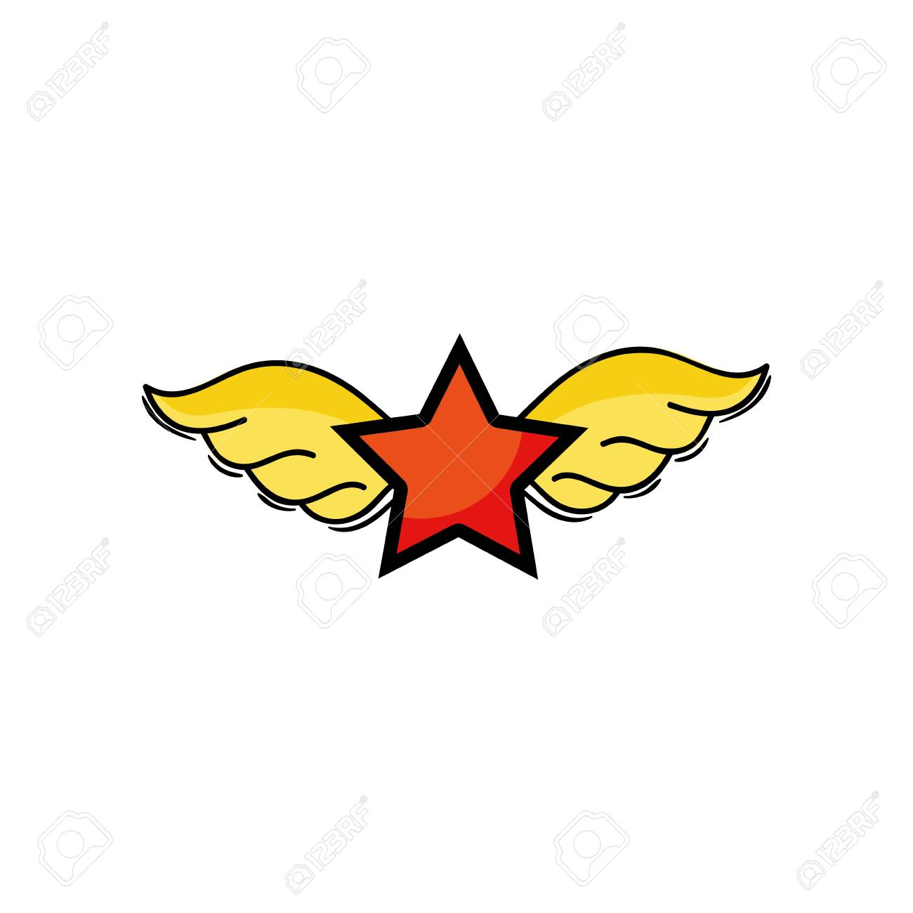 Star With Wings Rock Symbol Art Vector Illustration Royalty Free