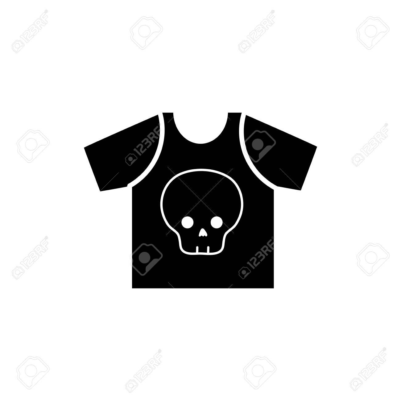 Contour Rock T Shirt With Skull Design Casul Clothes Vector