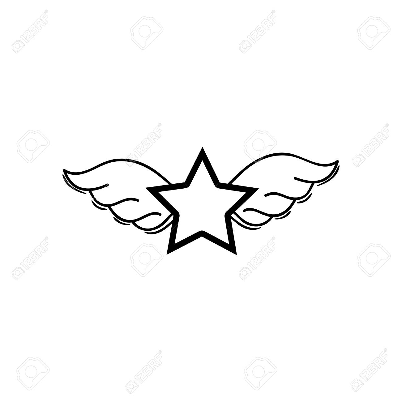 Figure Star With Wings Rock Symbol Art Vector Illustration Royalty