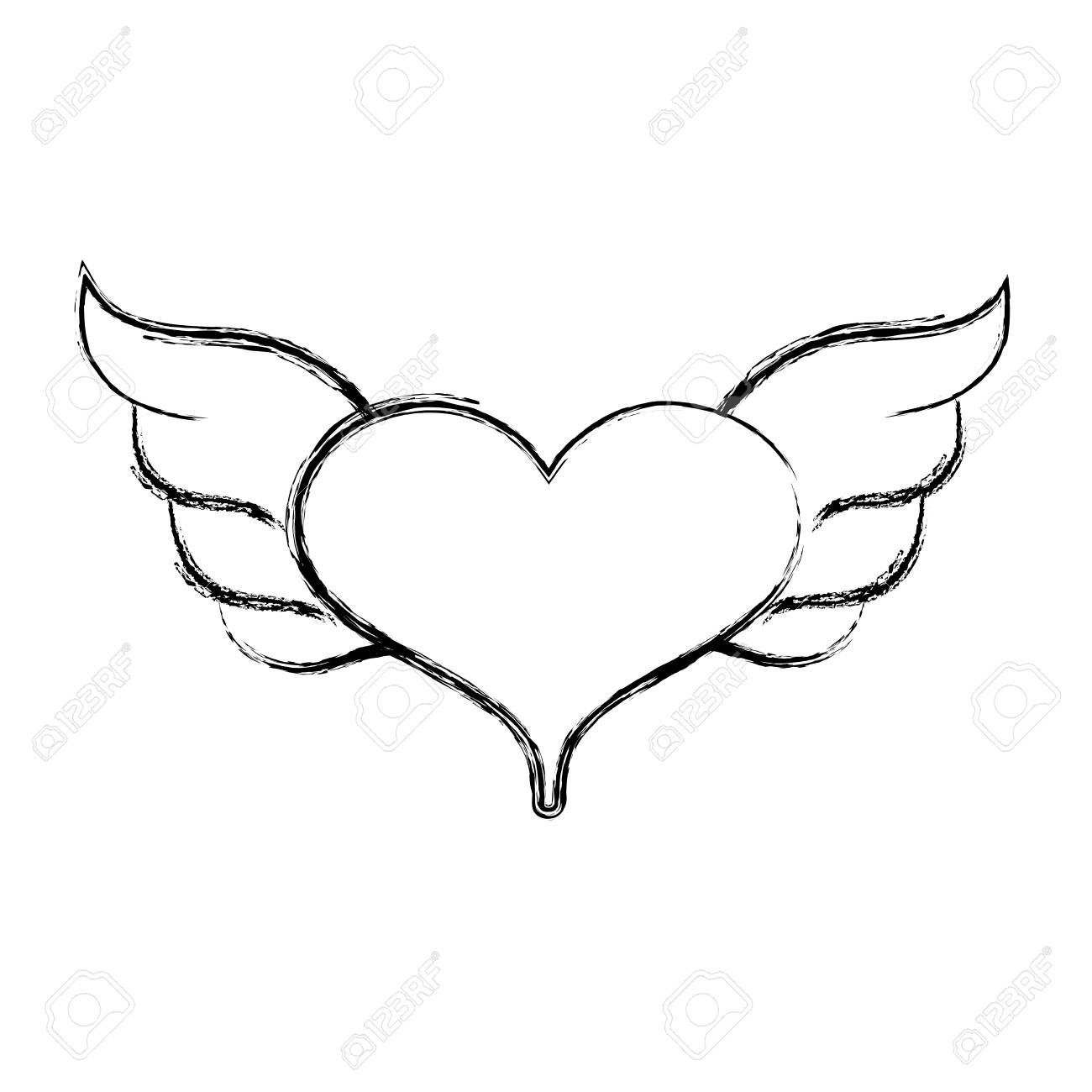 Figure Heart With Wings Symbol Love Art Vector Illustration Royalty