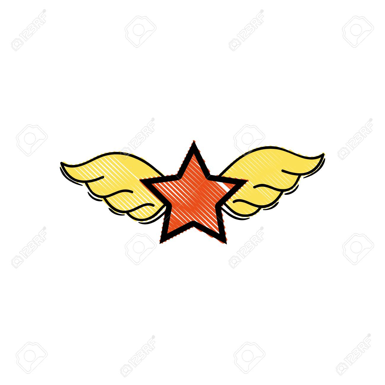 Grated Star With Wings Rock Symbol Royalty Free Cliparts Vectors