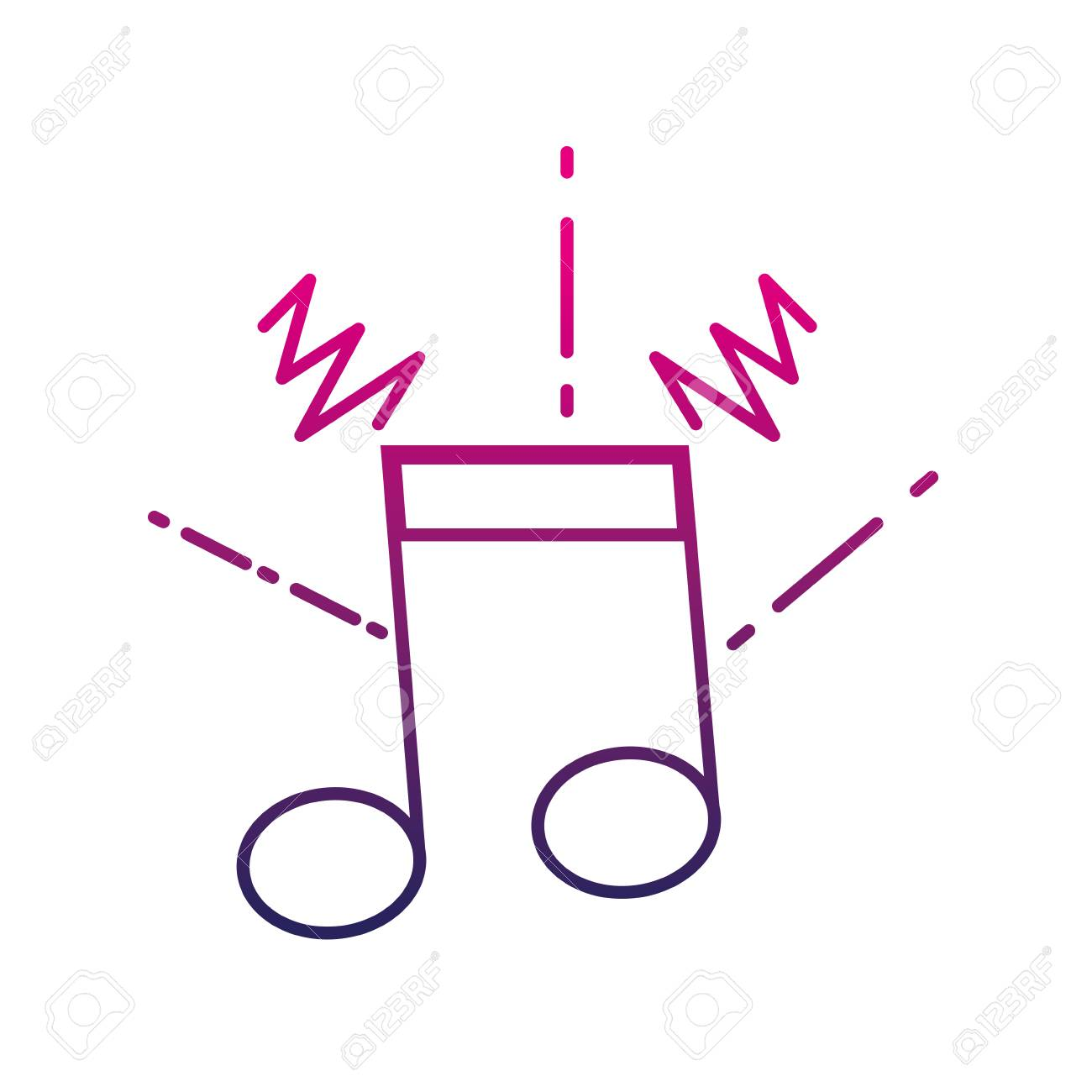 colored musical note outline vector illustration royalty free