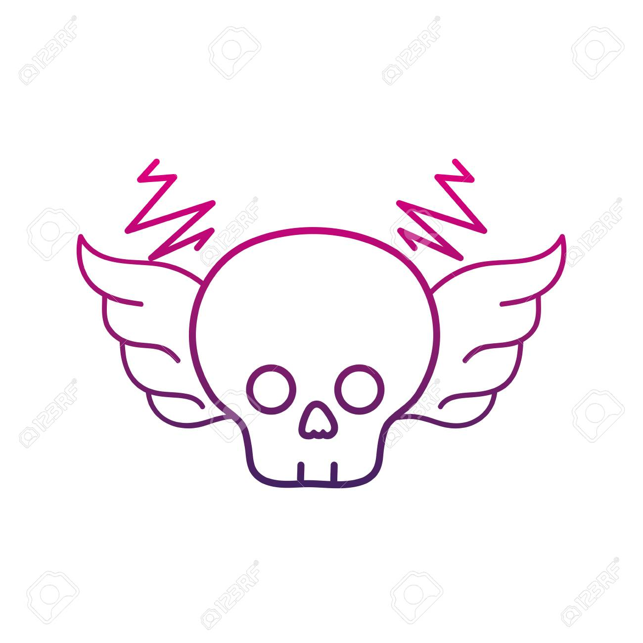 Colored Skull With Wings Outline Rock Art Symbol Vector Illustration
