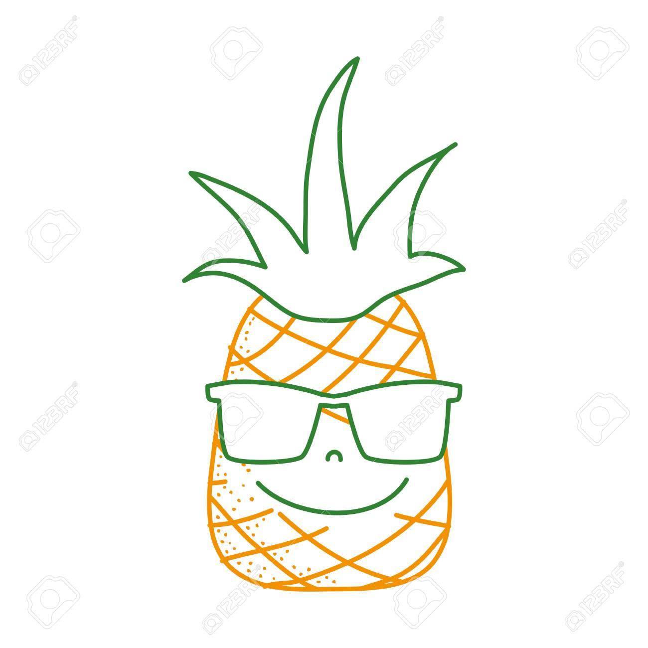 Fruto Kawaii Línea De Piña Con Color Gafas Feliz Sol EIe2WDYH9b