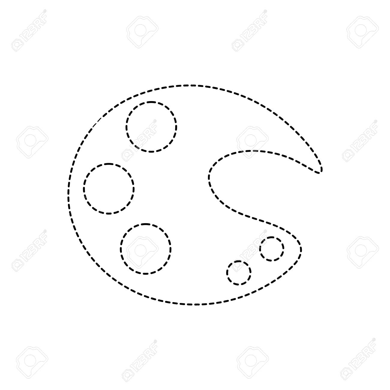 Dotted Shape Art Palette Tool To Paint And Drawing Royalty Free ...