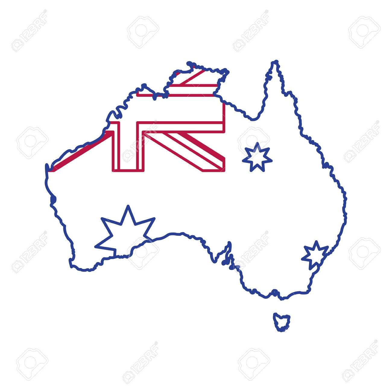 Map Of Australian Landscapes.Australian Map Of Australia Travel Landscape And Landmark Theme