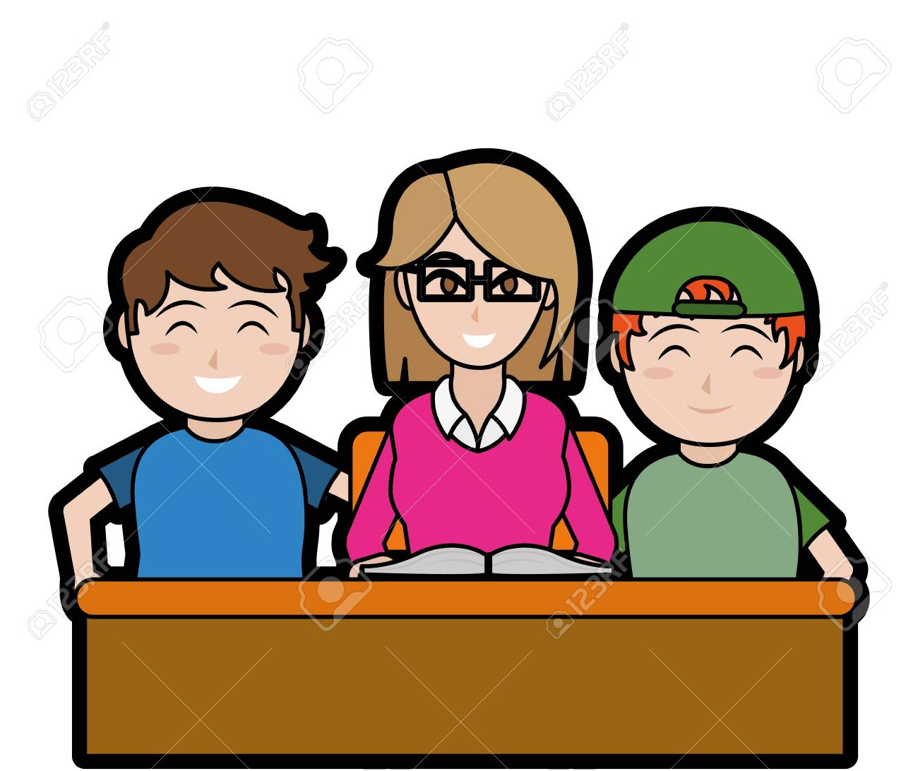 Boys Teacher And Book F School Education And Lesson Theme Isolated