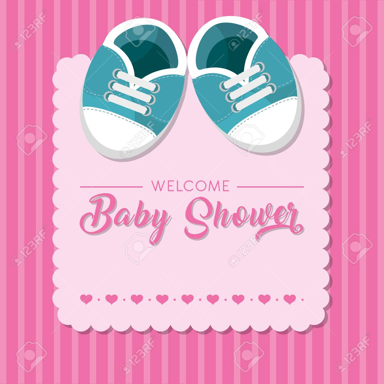 Baby Shower Design With Baby Shoes Vector Illustration Royalty Free Cliparts Vectors And Stock Illustration Image 92412655