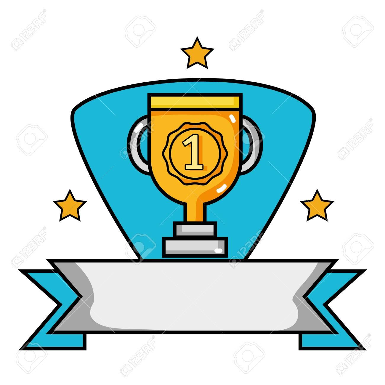 No. 1 golden ribbon badge vector illustration.