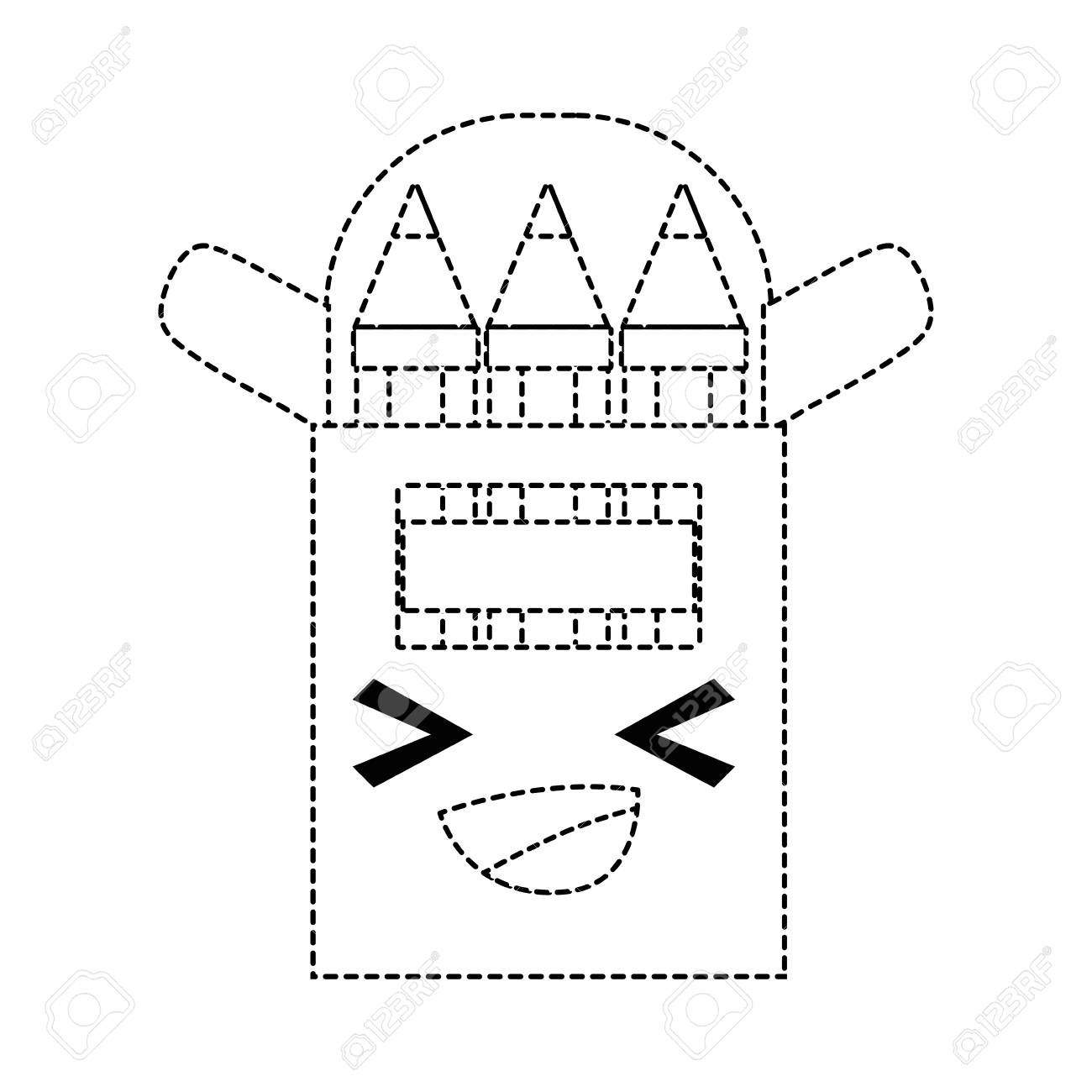 Dotted Shape Happy And Cute Colored Pencil Kawaii Vector ...