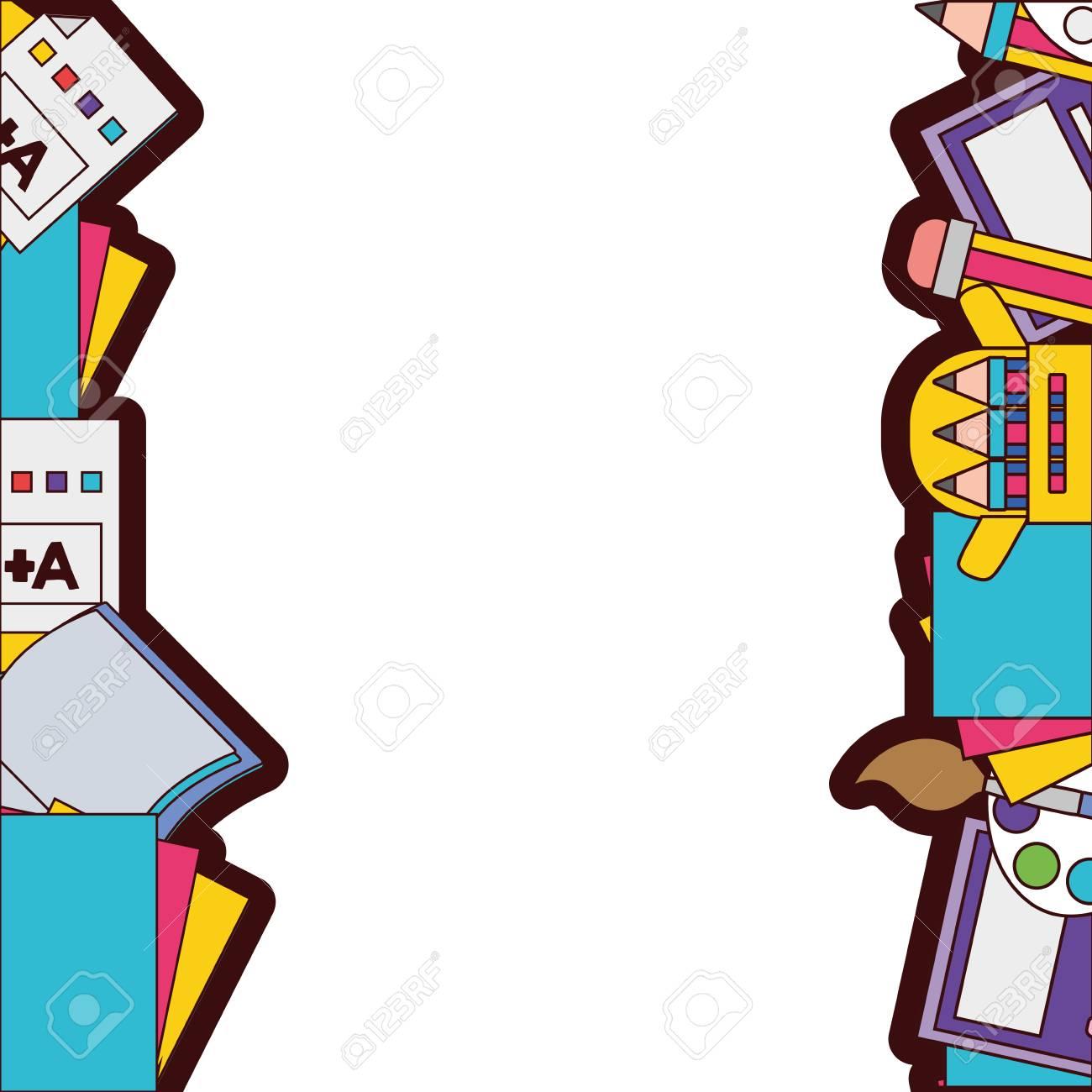 full color school tools education background design vector