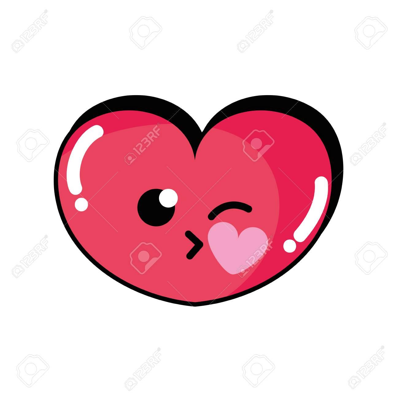Cute heart with kiss cartoon vector illustration