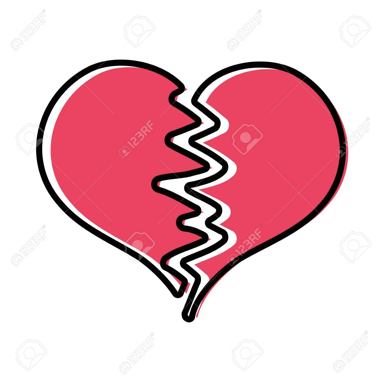 Color Heart Symbol Of Love Broken Design Vector Illustration