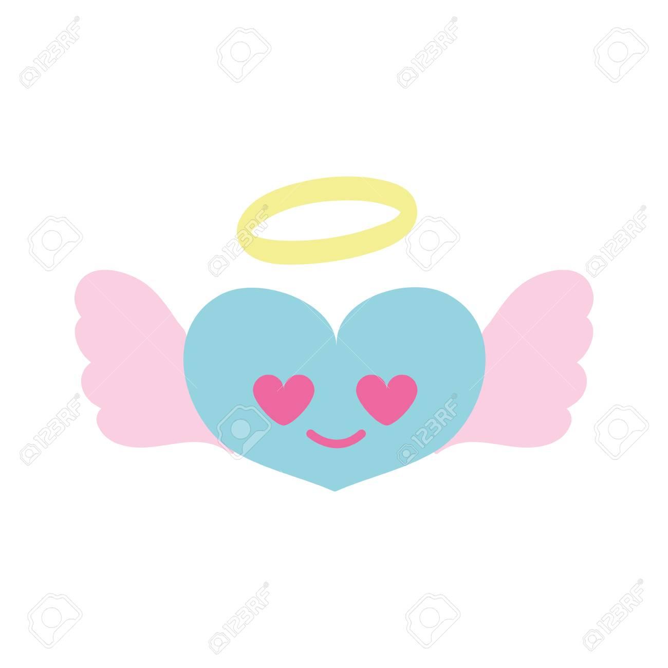 Ange Coeur Coloré Dans L 39 Amour Kawaii Dessin Animé Illustration Vectorielle