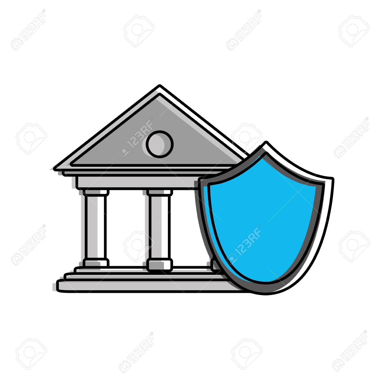color finance bank economy with shield security Stock Vector - 94941395  sc 1 st  123RF.com & Color Finance Bank Economy With Shield Security Royalty Free ...
