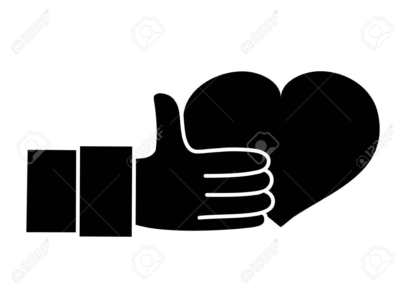 Silhouette Hand With Heart Love Symbol Of Passion Vector