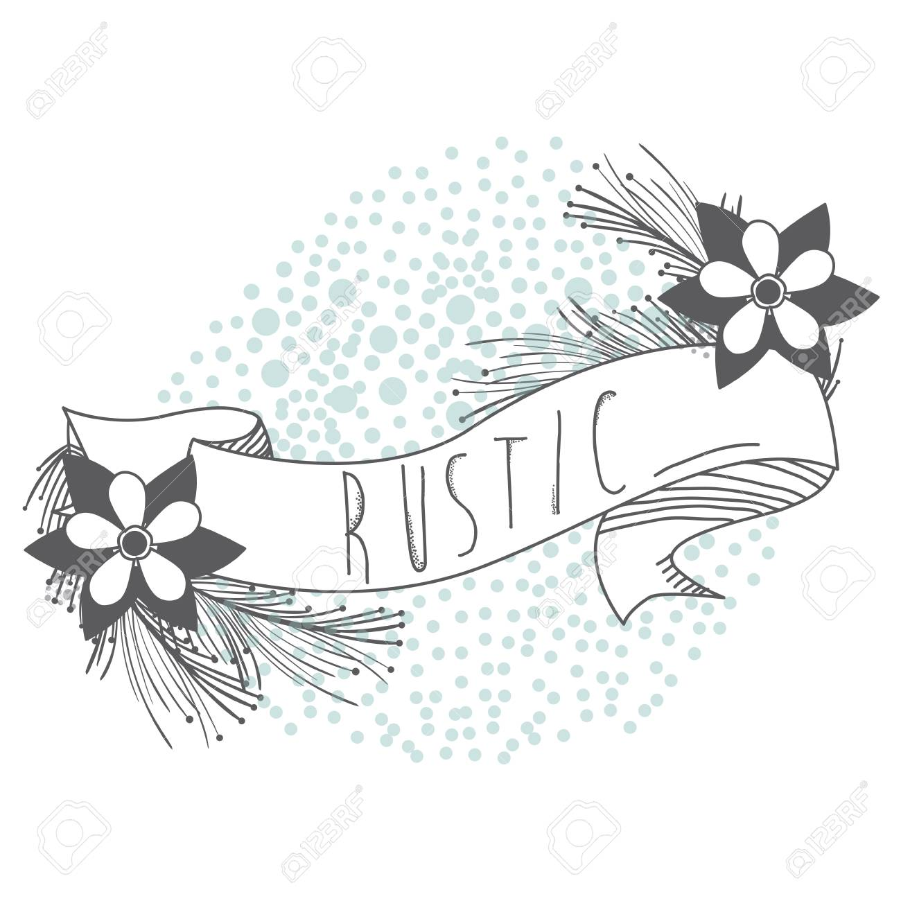 Rustic Ribbon Banner With Flowers Hand Drawn Icon Vector Illustration Graphic Design Stock