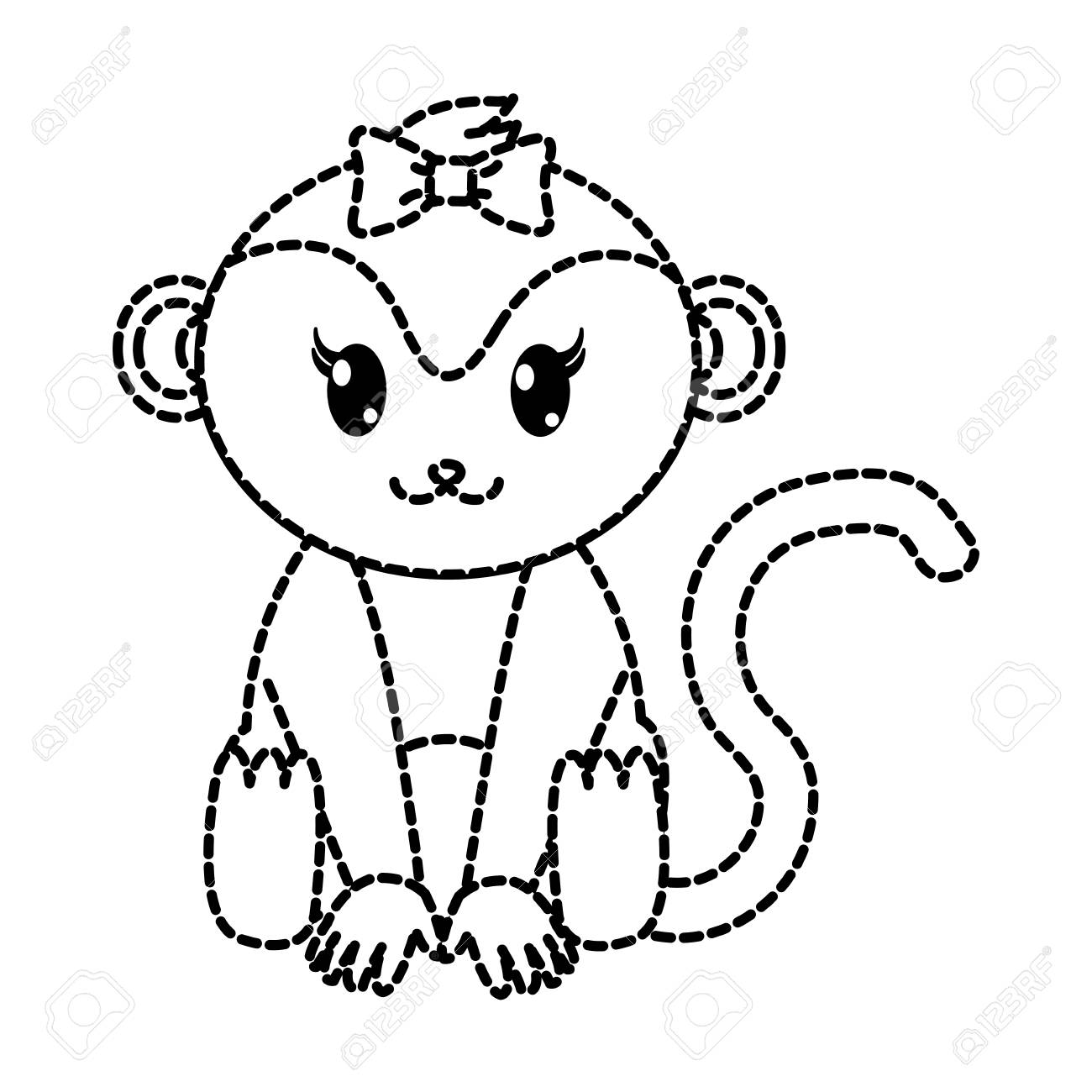 dotted shape female monkey cute animal with ribbon bow vector illustration stock vector 95409540