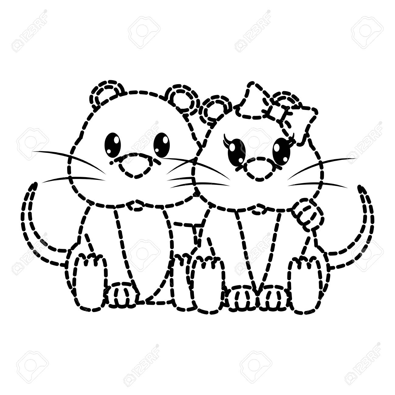 点線形状マウスカップルかわいい動物一緒にベクトルイラストのイラスト素材 ベクタ Image 95409978
