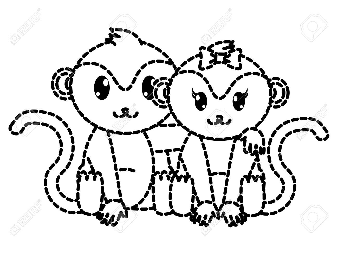dotted shape monkey couple cute animal together vector illustration stock vector 95410407
