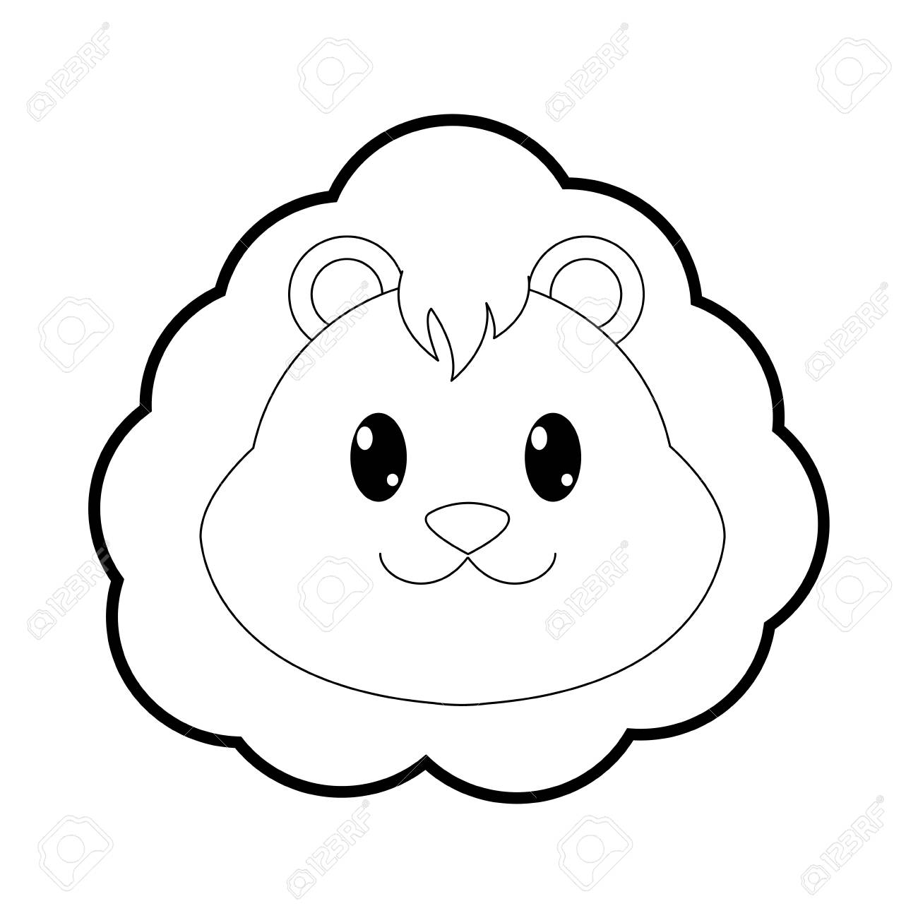 Outline Lion Head Cute Animal Character Vector Illustration Royalty Free Cliparts Vectors And Stock Illustration Image 95482234 Polish your personal project or design with these lion head transparent png images, make it even more personalized and more attractive. outline lion head cute animal character vector illustration