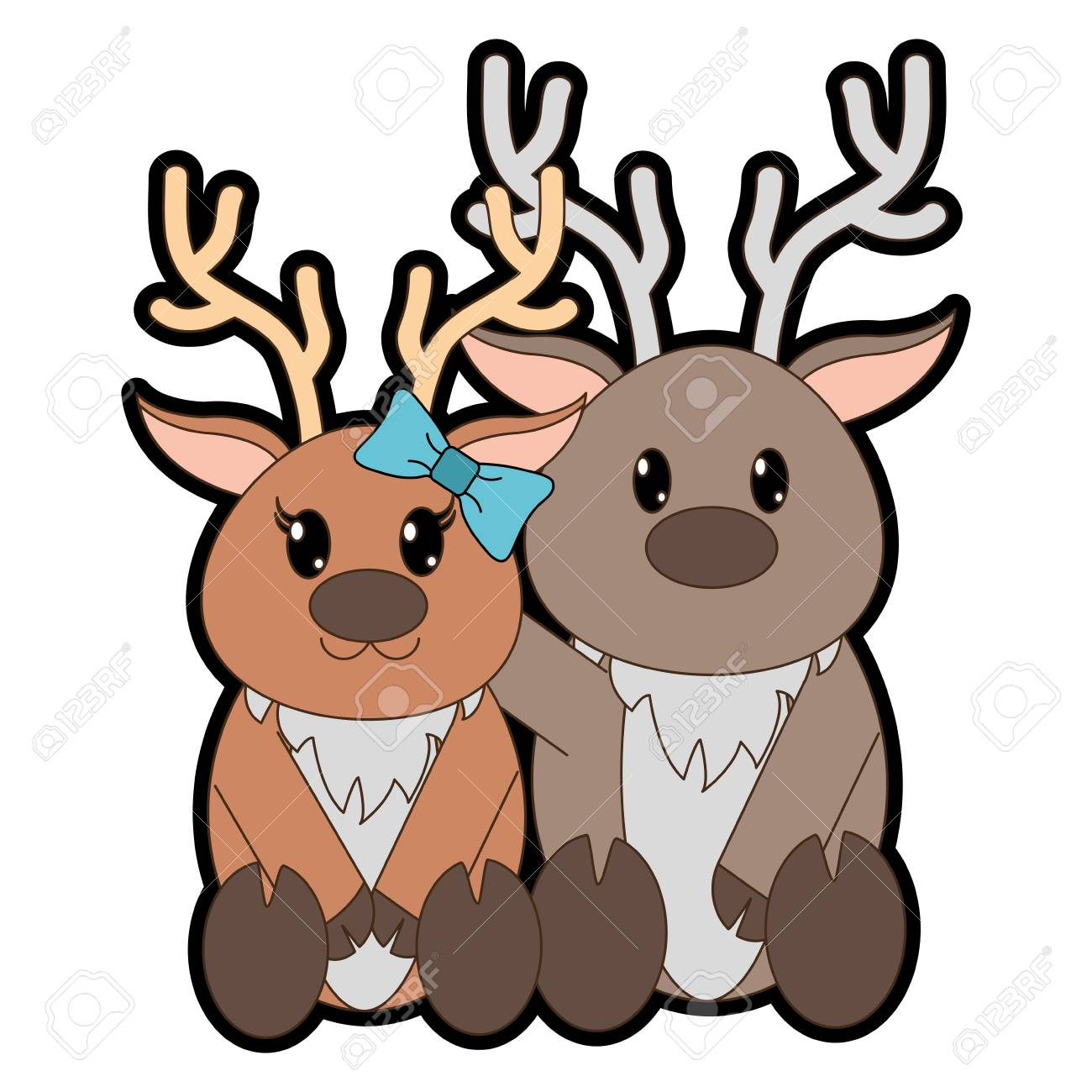 - Full Color Reindeer Couple Cute Animal Together Royalty Free