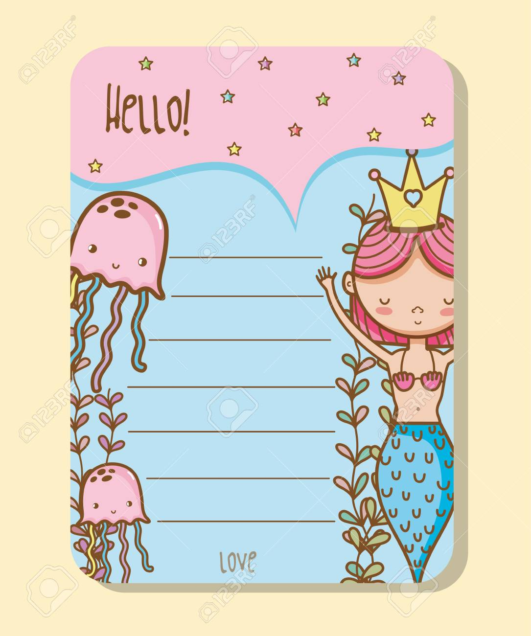 Colorful Printable Sheets With Mermaid Princess And Jellyfishes ...