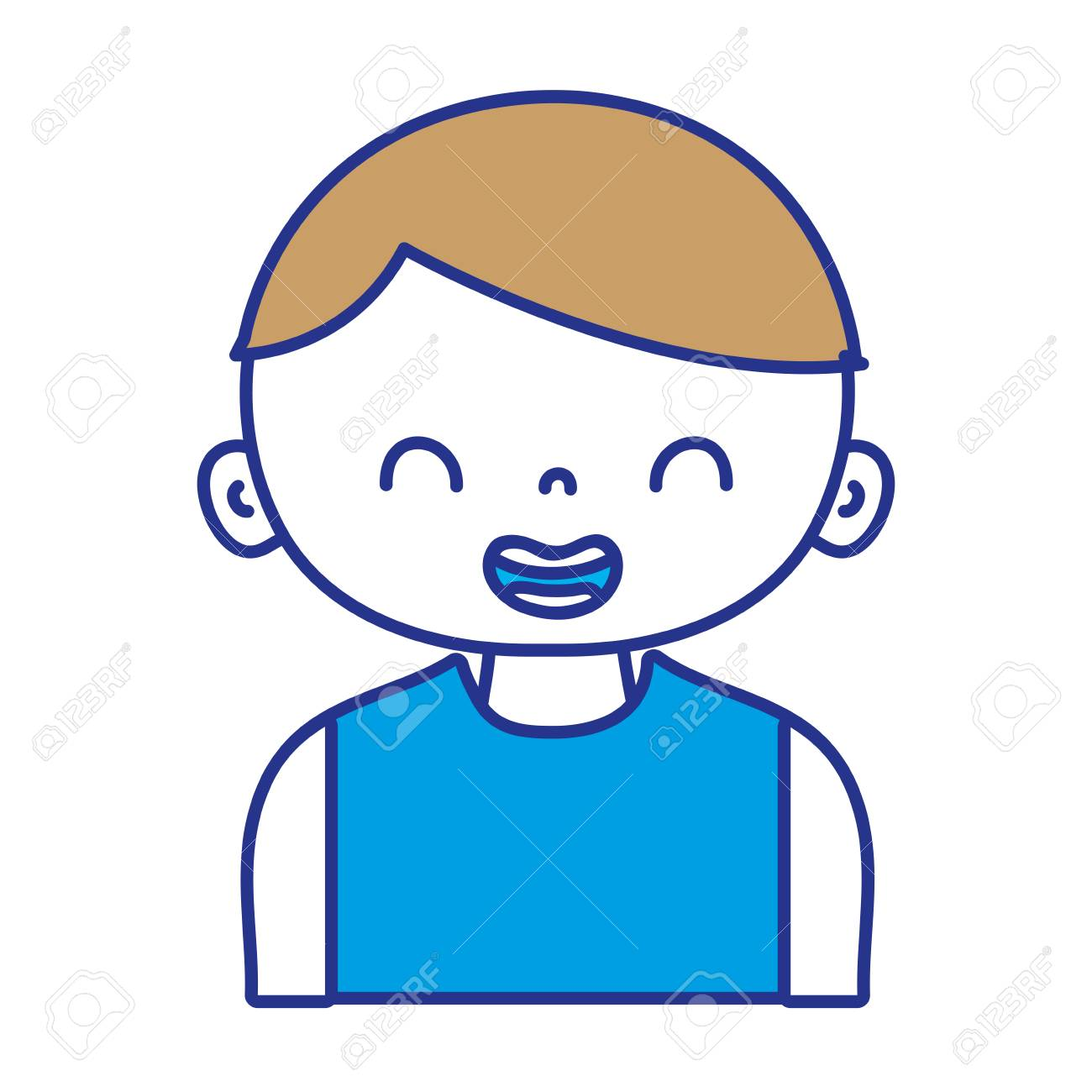 Full Color Smile Boy With T Shirt And Hairstyle Vector Illustration