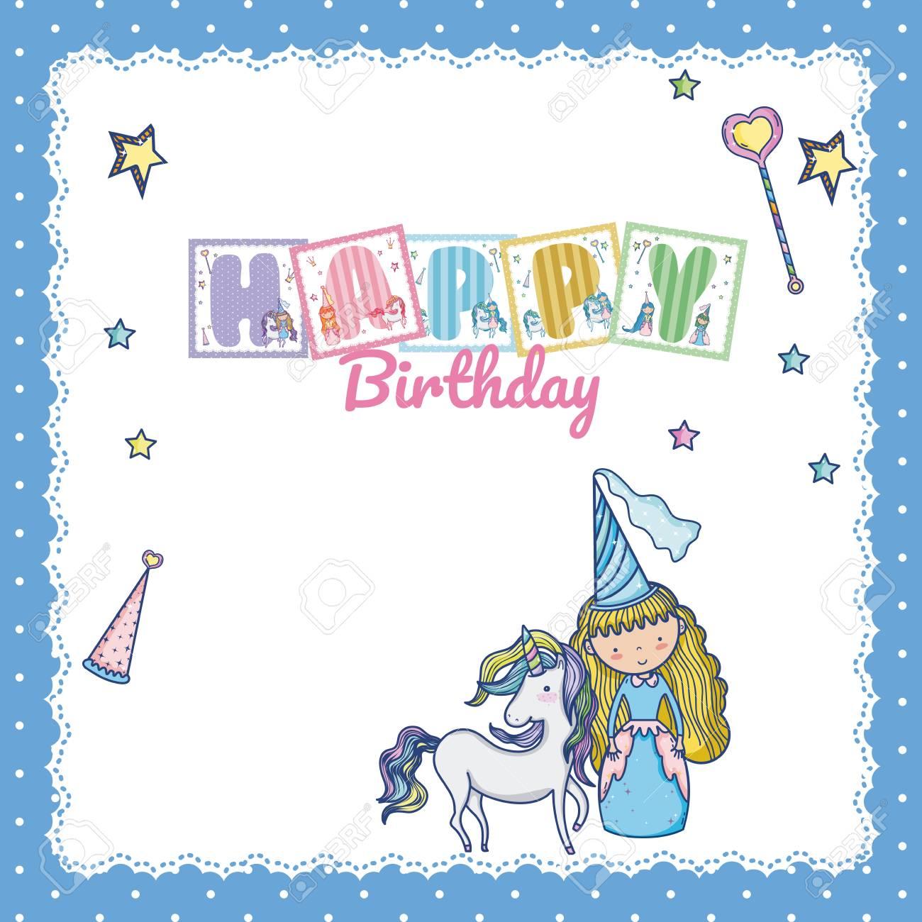 Happy Birthday Card For Little Girl Clip Art Libres De Droits