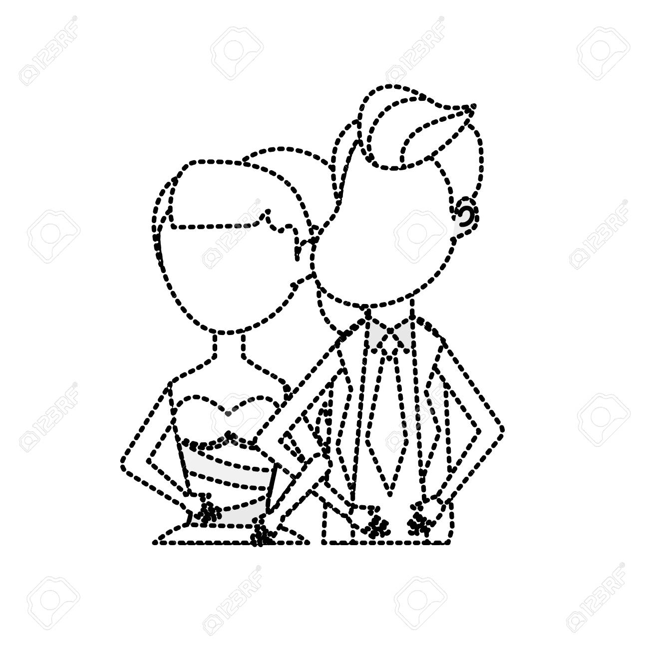 Dotted Shape Happy Couple Together And Romantic Celebration Royalty ...