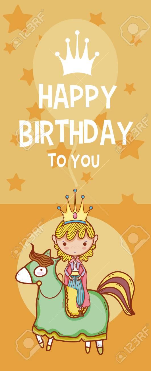 Happy Birthday Card Cute Cartoons Royalty Free Cliparts Vectors