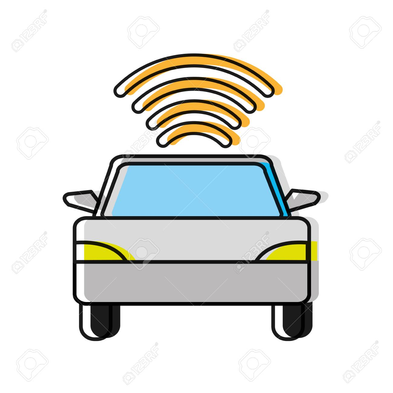 Moved Color Car Transport With Wifi Digital Connection Royalty Free ...