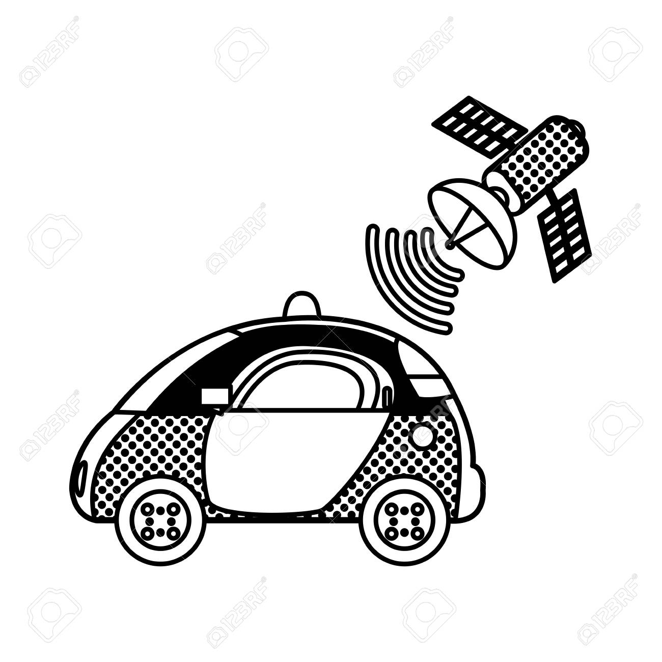 filling, texture police car with satellite wifi connection vector illustration - 96679304