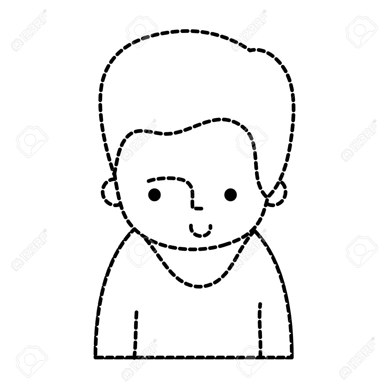 dotted shape happy man with t shirt and hairstyle design vector T- shaped Building dotted shape happy man with t shirt and hairstyle design vector illustration stock vector