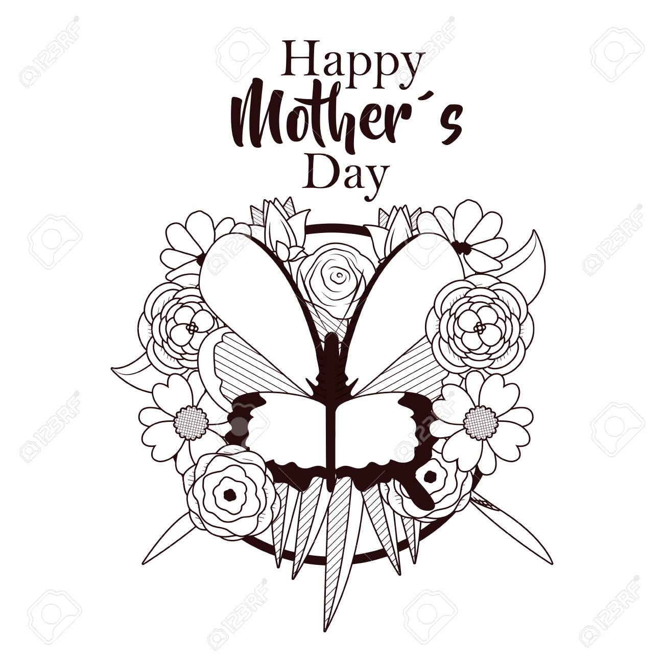 Happy mothers day card with beautiful butterflies and flowers happy mothers day card with beautiful butterflies and flowers on black and white design stock vector mightylinksfo