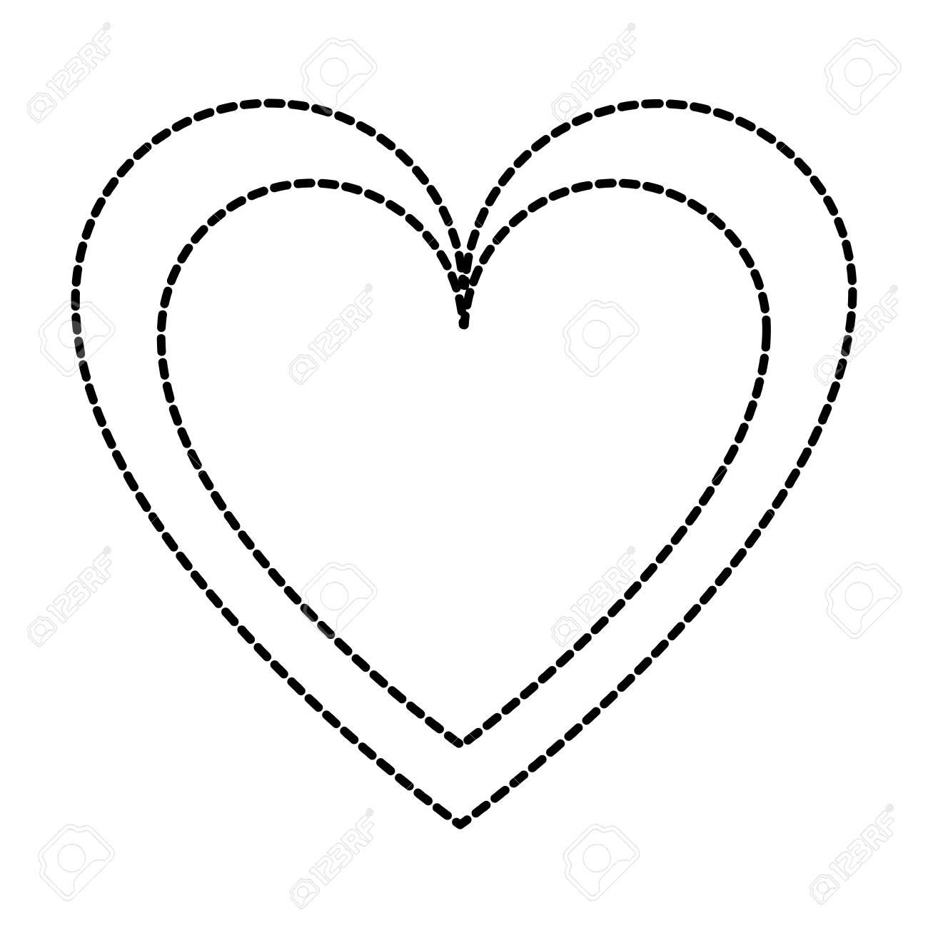 Dotted Shape Heart Love Symbol Of Passion Design Vector Illustration