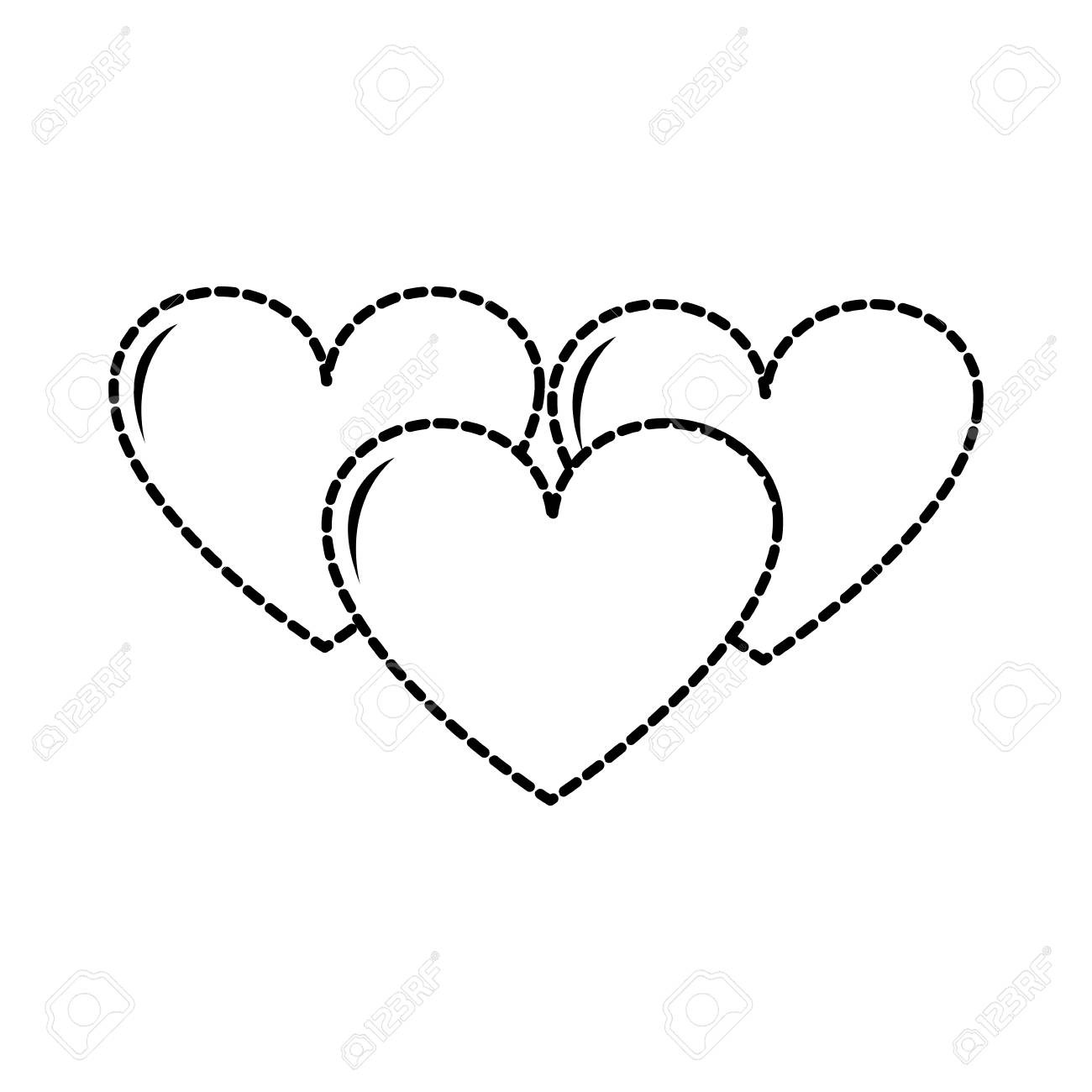 Dotted Shape Hearts Love Symbol Of Passion Design Icon Vector