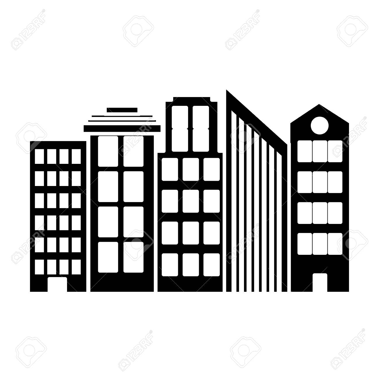 Silhouette Architecture Modern Buildings City Design Royalty Free ...