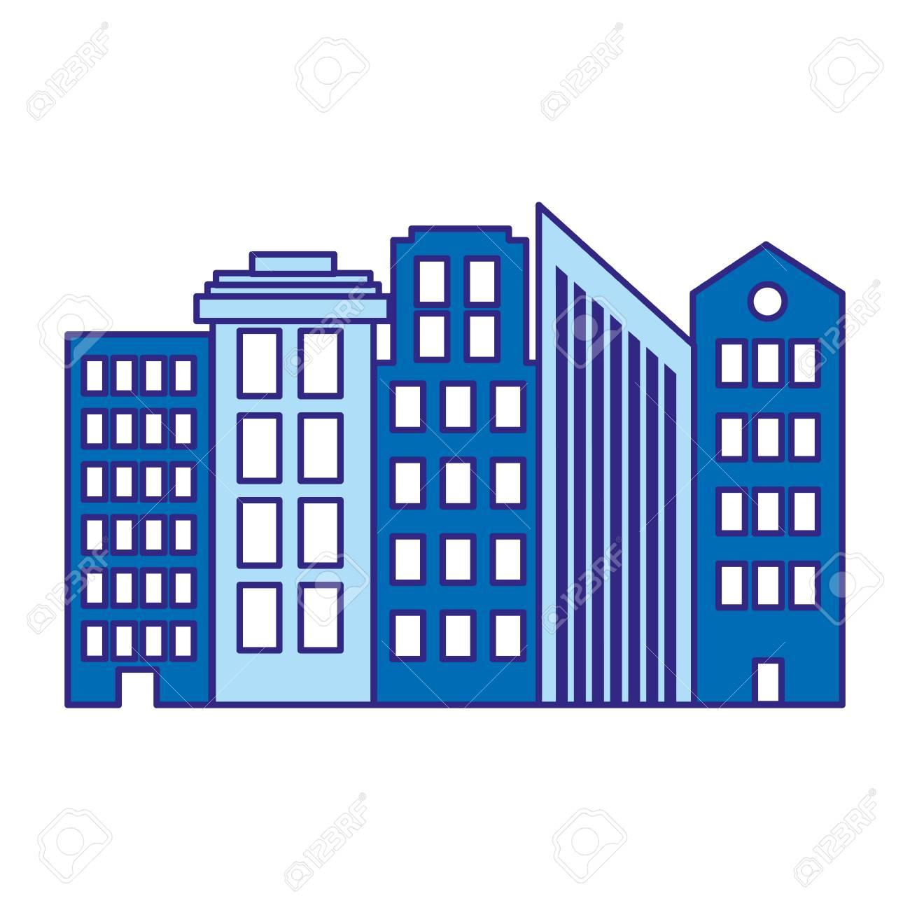 Duo Color Architecture Modern Buildings City Design Vector ...