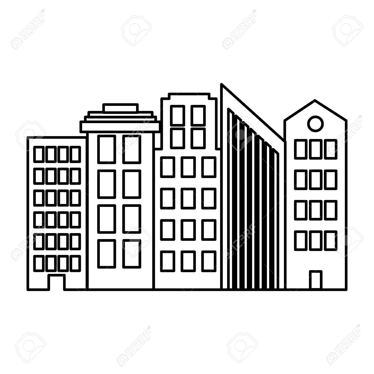 A Line Architecture Modern Buildings City Design Royalty Free ...