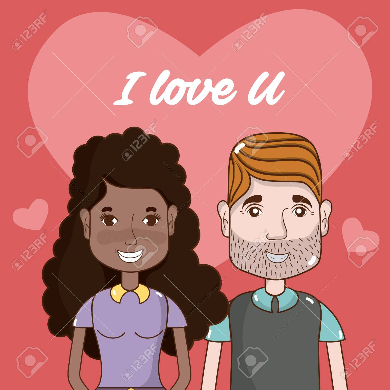 I Love You Card With Cute And Funny Couple Cartoons Vector
